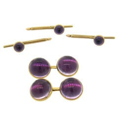 1970s Amethyst Cabochon Gold Cufflinks Stud Dress Set