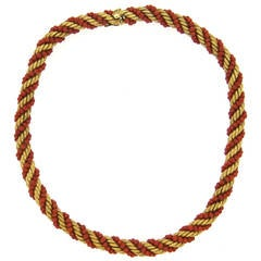 1960s Italian Gold Coral Bead Rope Necklace