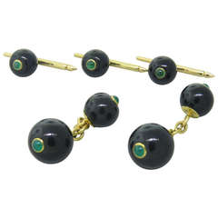Trianon Onyx Emerald Gold Cufflinks Stud Dress Set