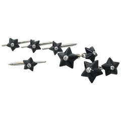 Trianon Onyx Diamond Gold Star Cufflinks Stud Dress Set