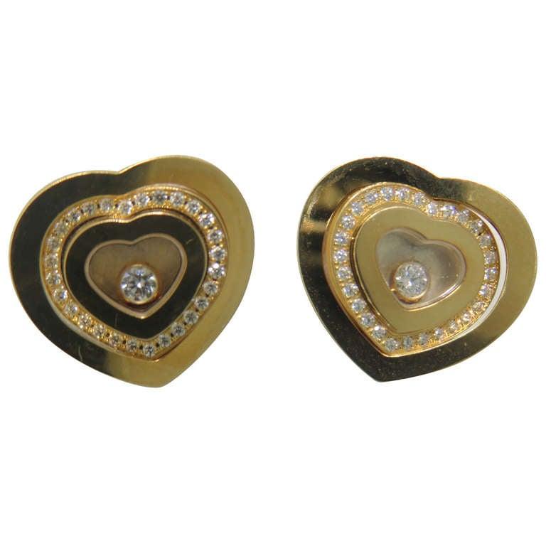 Chopard Happy Spirit Gold Floating Diamond Heart Earrings