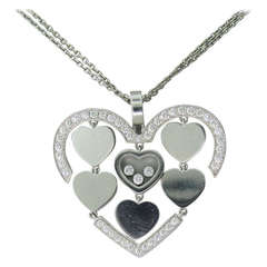 Chopard Happy Amore Gold Floating Diamond Heart Pendant Necklace
