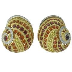 Haute Couture Alex Soldier Platinum Gold Diamond Garnet Citrine Snail Earrings