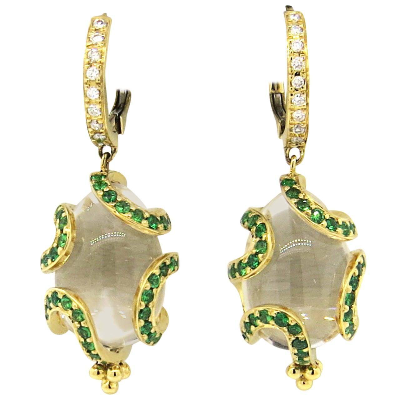 Temple St. Clair Matisse Tsavorite Garnet Diamond Crystal Amulet Earrings