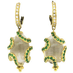 Temple St. Clair Matisse Tsavorite Garnet Diamond Crystal Amulet Earrings