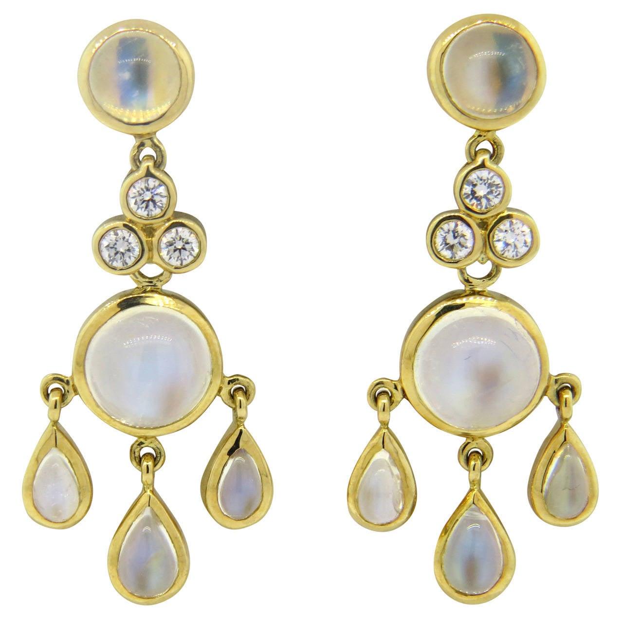 Temple St. Clair Fringe Moonstone Diamond Gold Drop Earrings