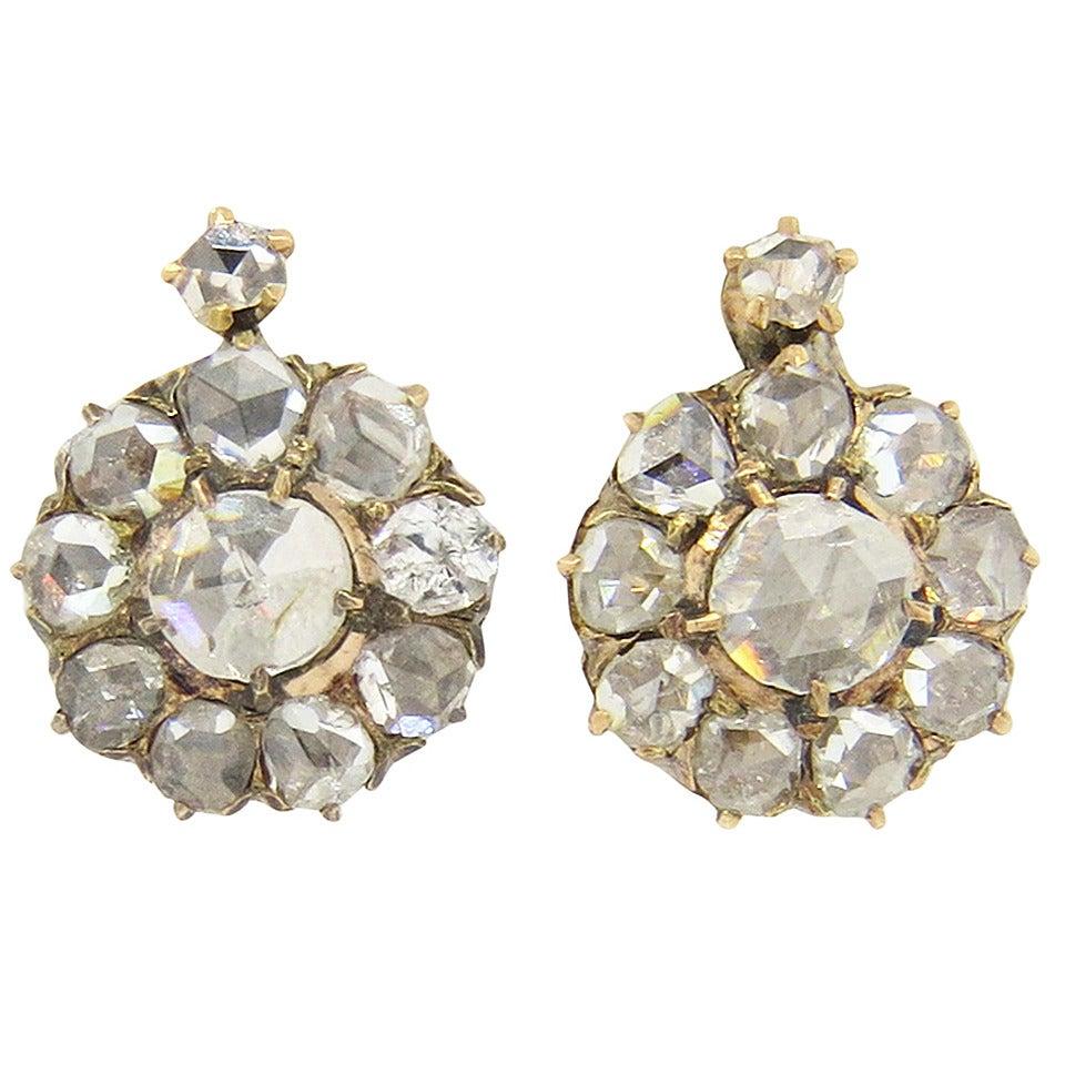 Early Victorian Rose Cut Diamond Gold Leverback Earrings 1