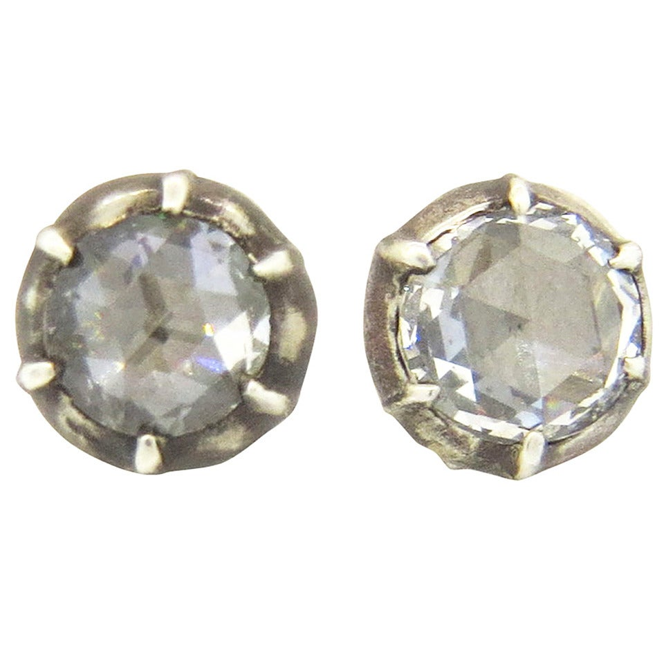 Rose Cut Diamond Silver Top Gold Stud Earrings 1