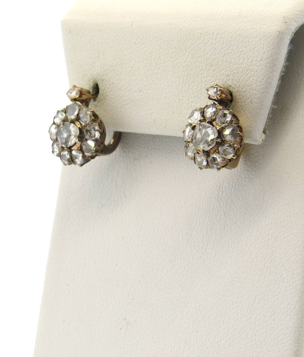 Early Victorian Rose Cut Diamond Gold Leverback Earrings at 1stdibs