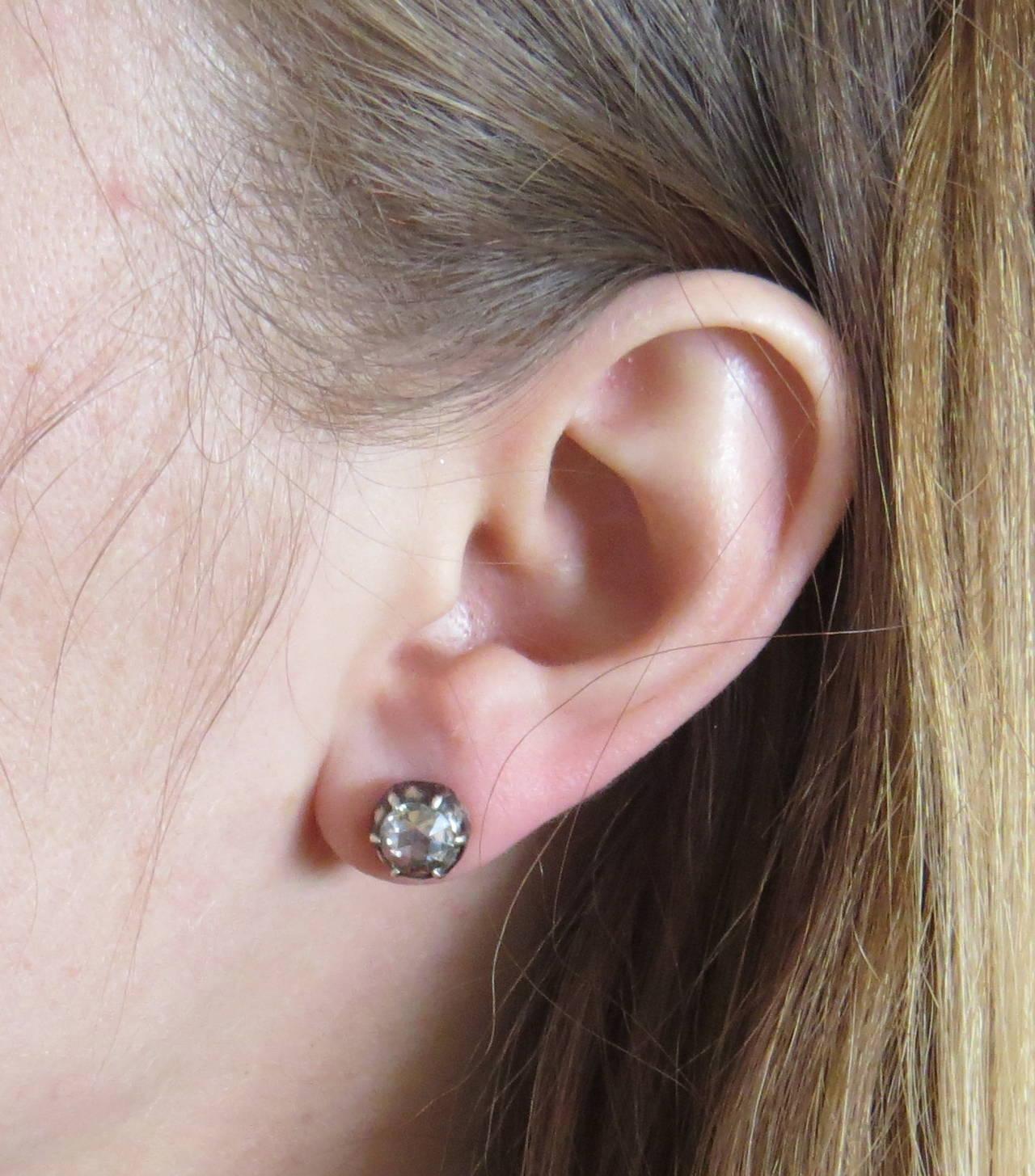 Rose Cut Diamond Silver Top Gold Stud Earrings 2