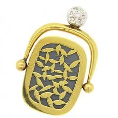 Unusual Artisanal Diamond Gold Mirror Fob Pendant