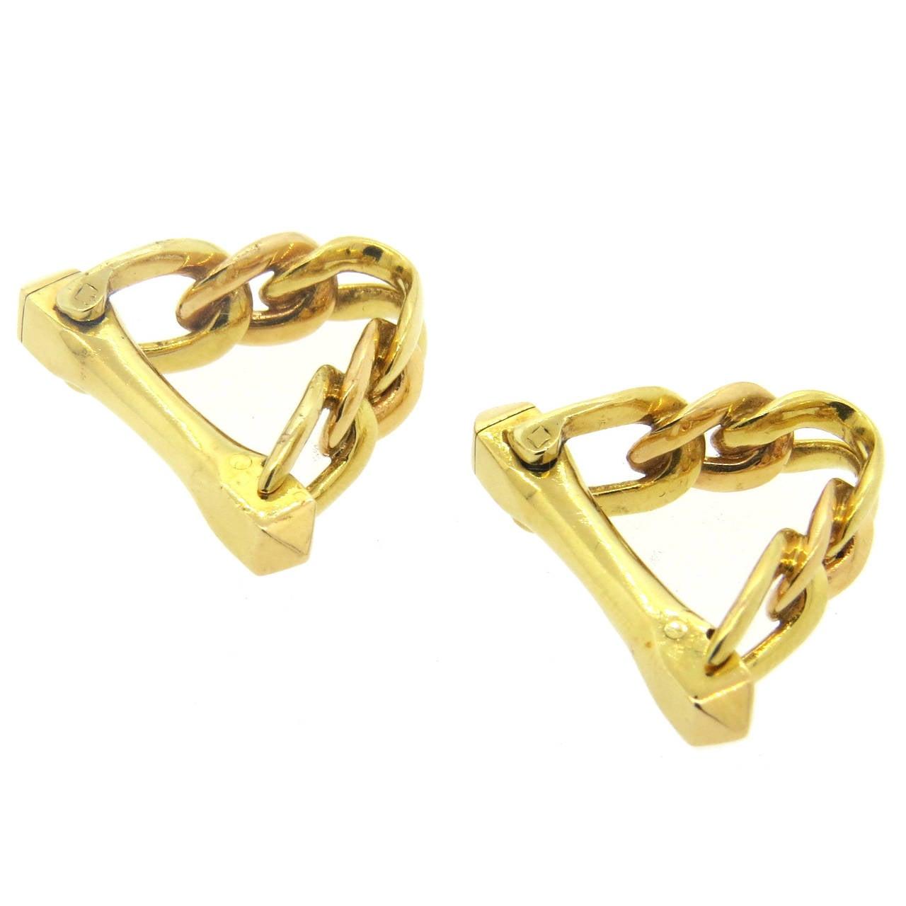 Cartier Paris Gold Stirrup Cufflinks