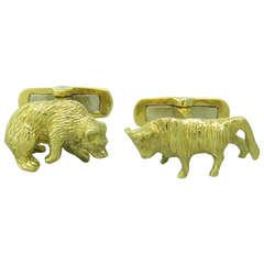 Gold Bull and Bear Stockbroker Cufflinks