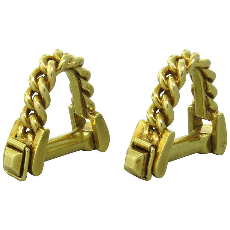 Mid Century Gold Stirrup Cufflinks