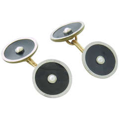 1920s Art Deco Gold Onyx Pearl Cufflinks