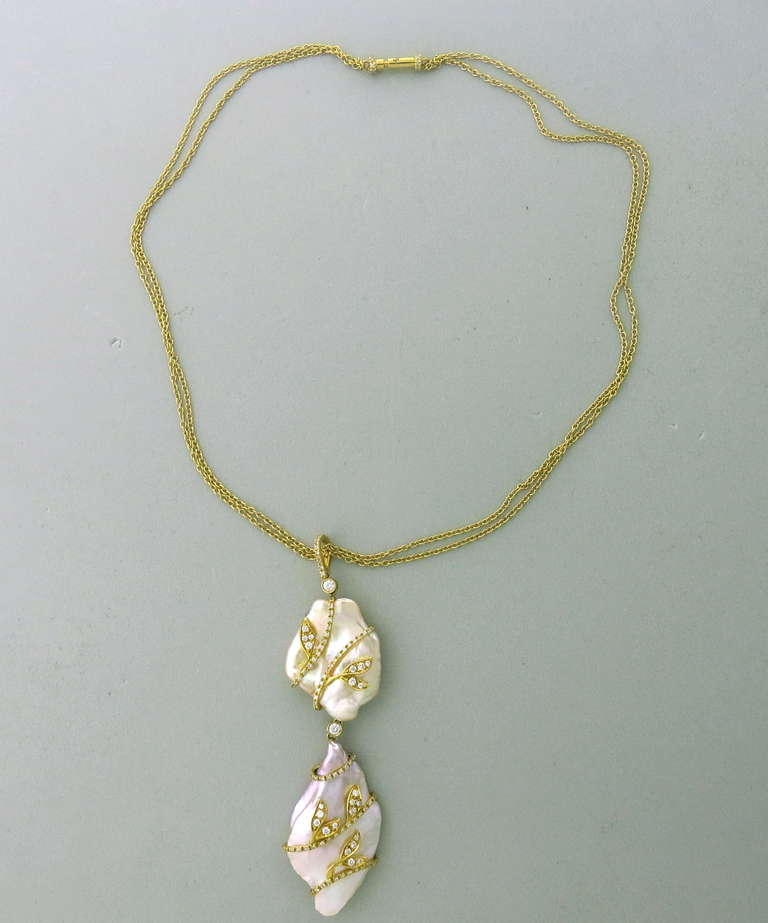 Modern Pearl Drop Diamond Pendant Necklace At 1stdibs