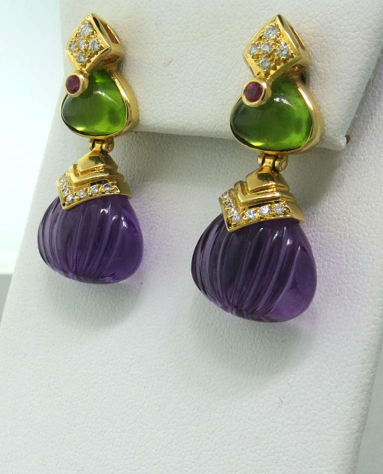 18k Yellow Gold Drop Earrings Featuring Carved Amethyst Drops Peridot Cabochon Ruby And Diamonds