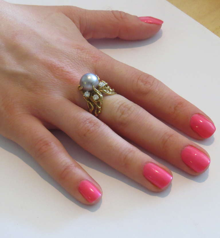 Arthur King Free Form Pearl Diamond Gold Ring at 1stdibs