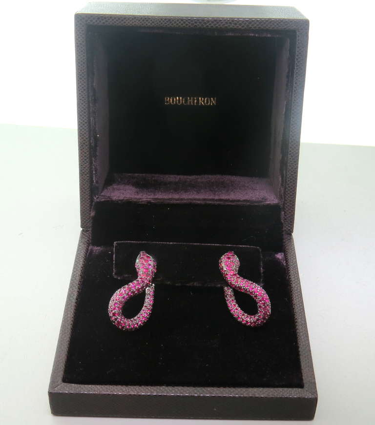 Boucheron Kaa Snake Ruby Emerald Earrings 4