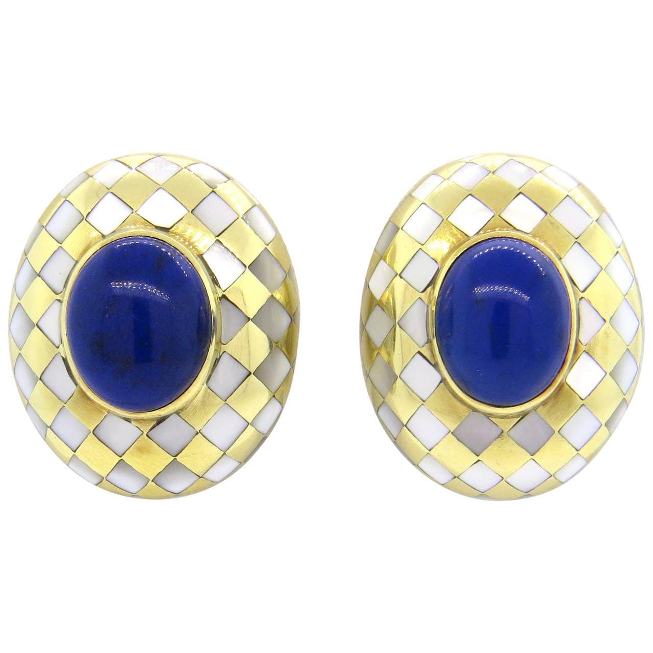 Angela Cummings Lapis Mother of Pearl Gold Earrings