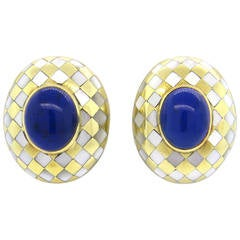 Angela Cummings Lapis Mother of Pearl Gold Earrings