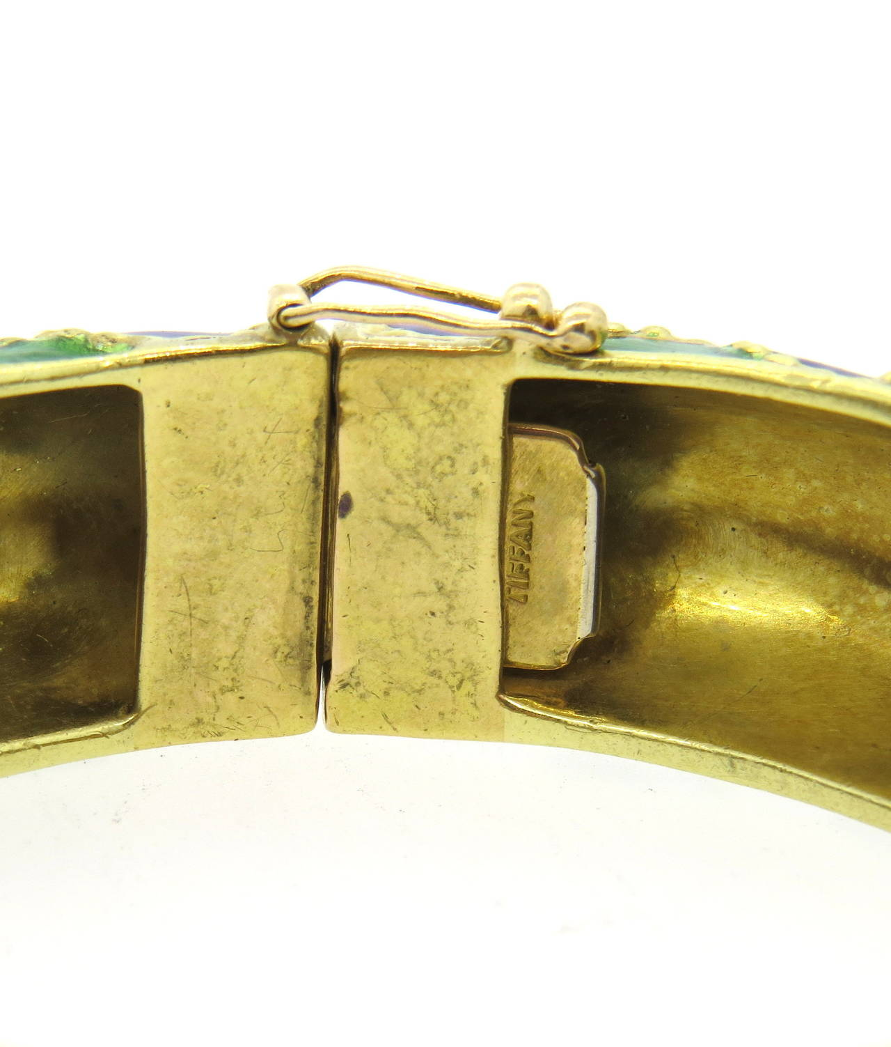 1960s Tiffany & Co Gold Blue Green Enamel Bangle Bracelet In Excellent Condition For Sale In Lahaska, PA