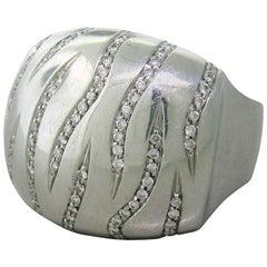 Modern Large Diamond Gold Ring