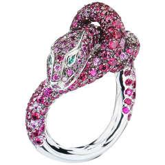 Boucheron Kaa Snake Sapphire Ruby Emerald Diamond Ring