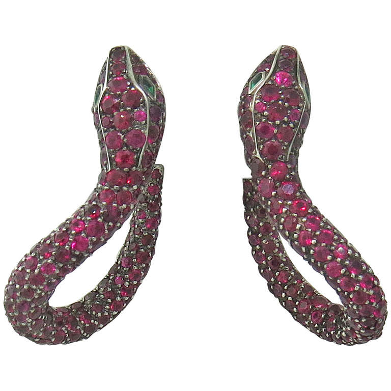 Boucheron Kaa Snake Ruby Emerald Earrings 1