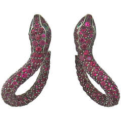 Boucheron Kaa Snake Ruby Emerald Earrings