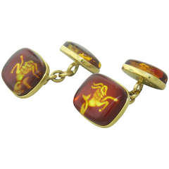 Trianon Gold Amber Zodiac Sign Cufflinks