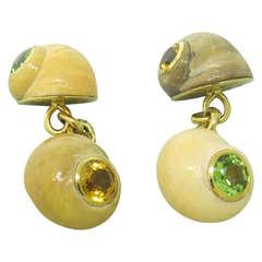 Trianon Peridot Citrine Gold Shell Cufflinks