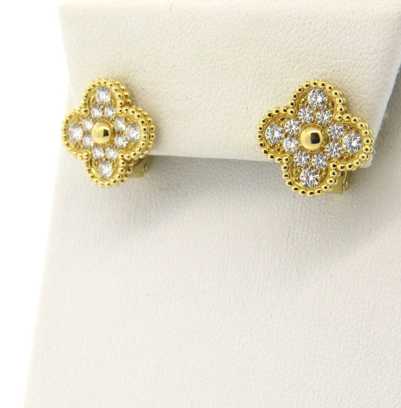 A Pair Of 18k Yellow Gold Diamond Earrings Set With Roximately 0 97ctw F G