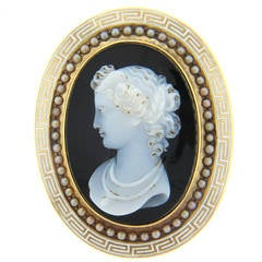 1870s Antique Hardstone Cameo Pearl Gold Brooch Pendant