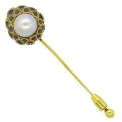 Fine Plique a Jour Enamel South Sea Pearl Diamond Gold Stick Pin