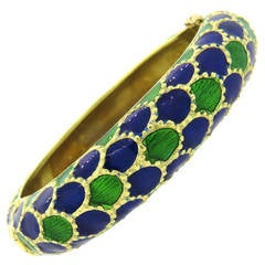 1960s Tiffany & Co Gold Blue Green Enamel Bangle Bracelet