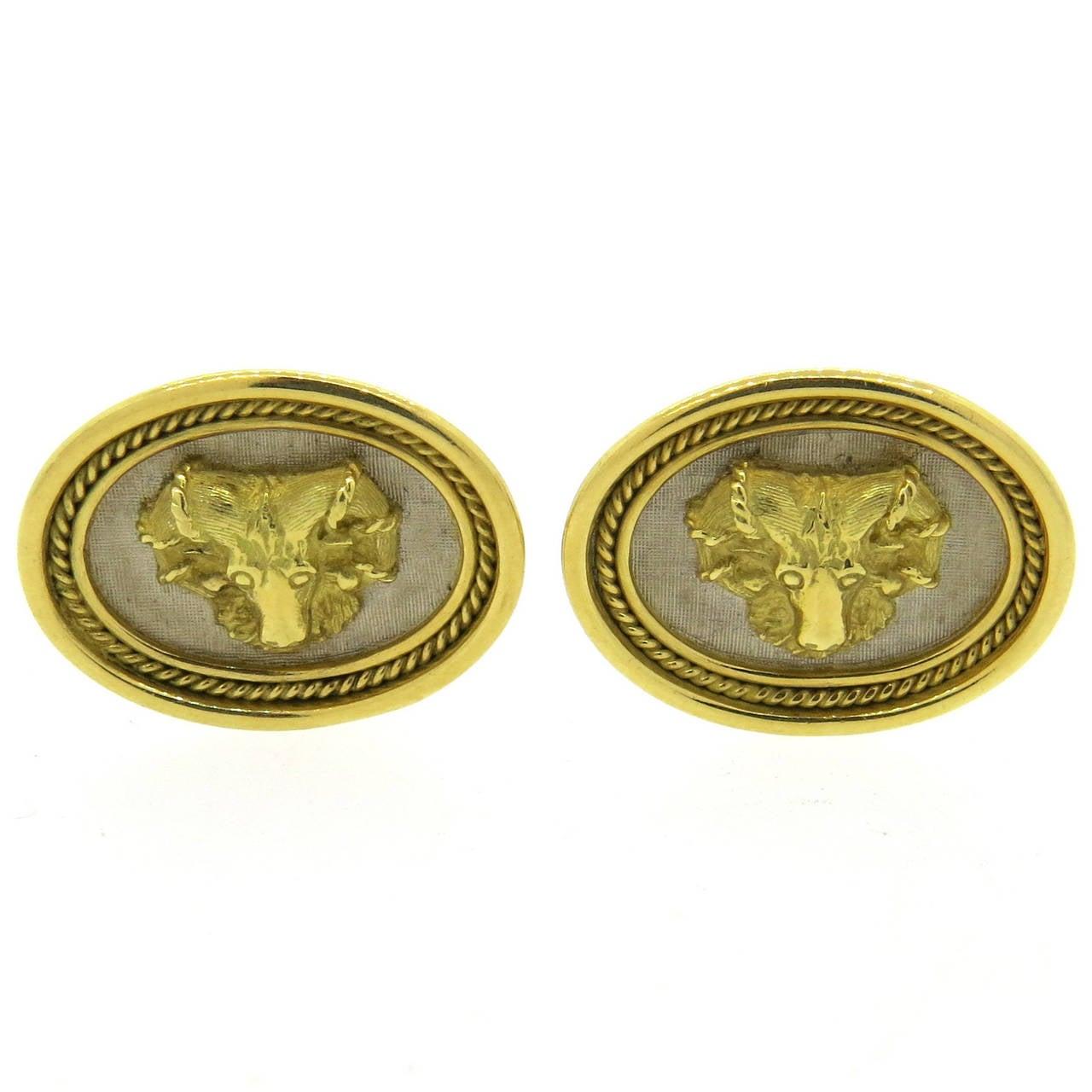 Elizabeth Gage Gold Rams Head Motif Cufflinks