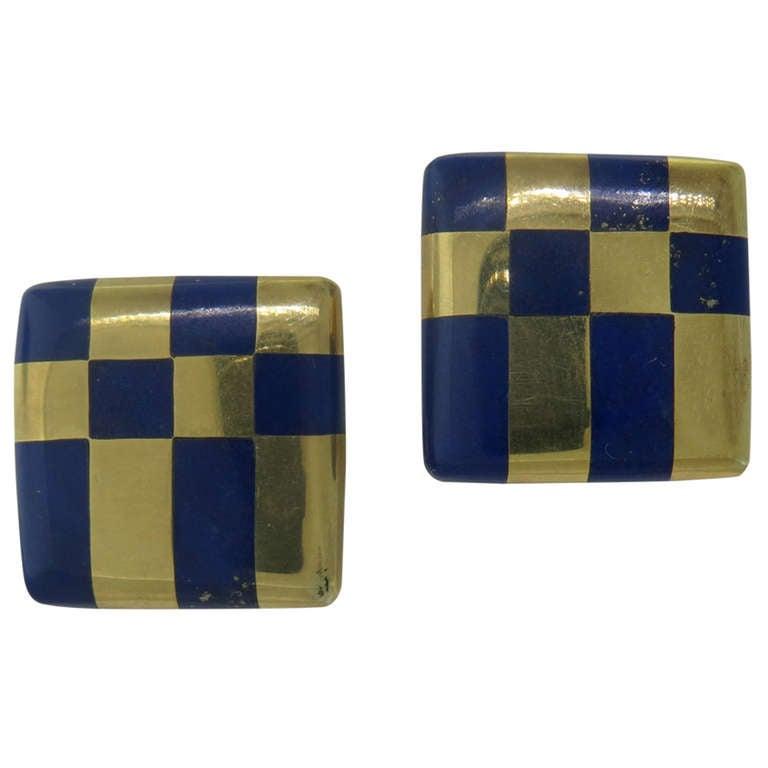 Tiffany & Co. Inlay Lapis Lazuli Gold Earrings