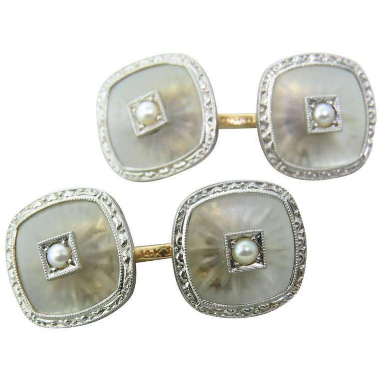 Art Deco Rock Crystal Pearl Gold Cufflinks