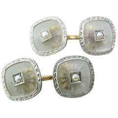 Art Deco Rock Crystal Pearl Gold Cufflinks