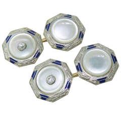 Art Deco Mother of Pearl Enamel Diamond Gold Cufflinks