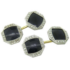 Art Deco Onyx Rose Cut Diamond Cufflinks