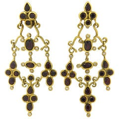 H. Stern Garnet Diamond Gold Dangle Earrings