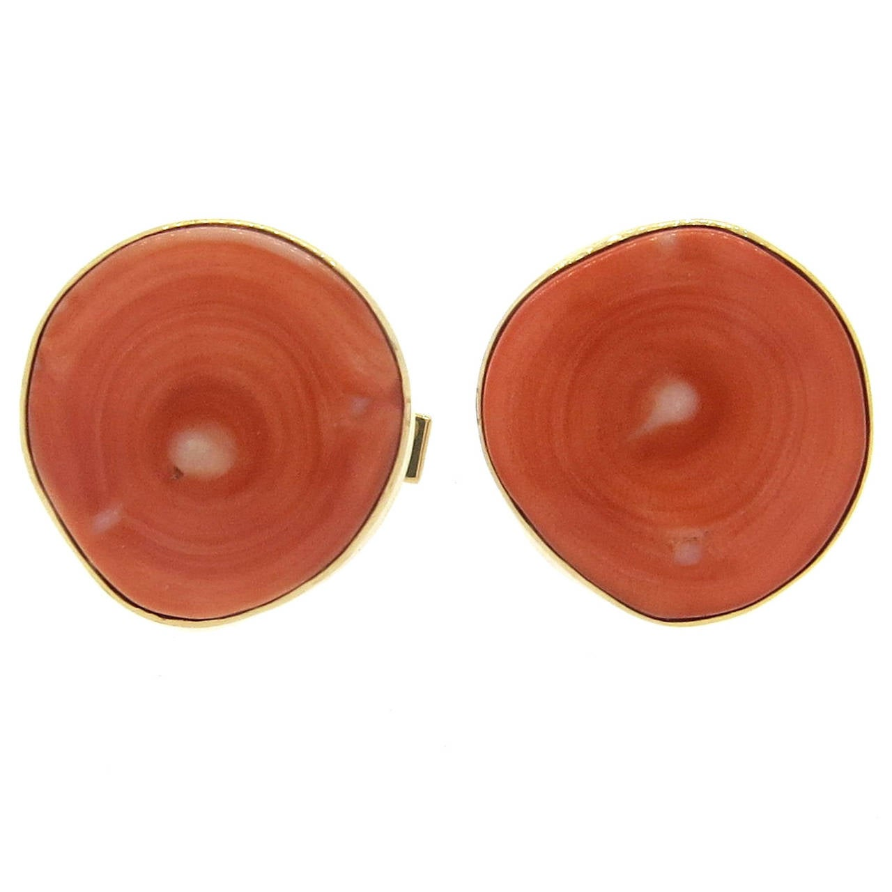 Large Coral Gold Cufflinks