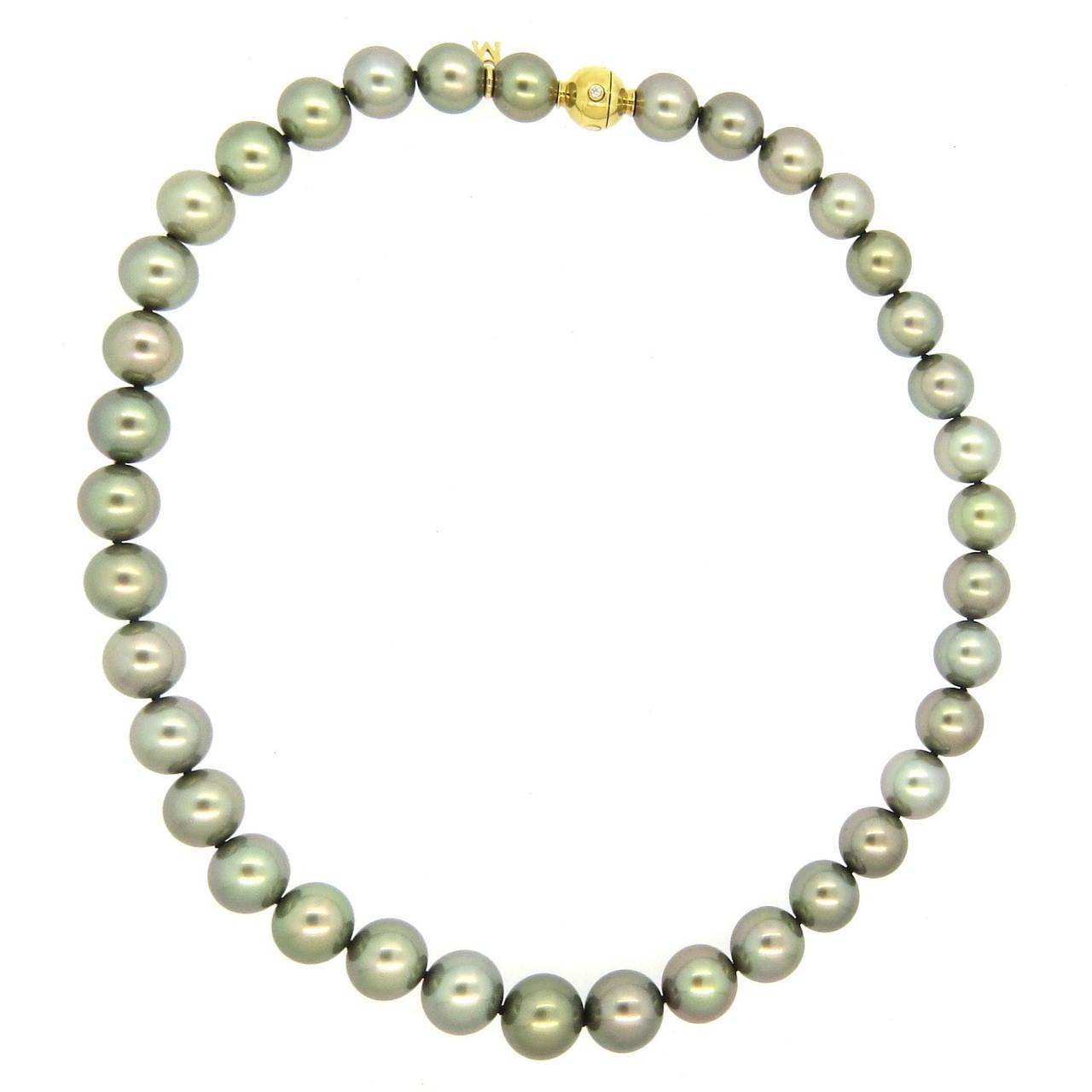 Mikimoto Pearls Necklace: Mikimoto Graduated Tahitian Pearl Diamond Gold Necklace At