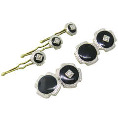 Art Deco Gold Platinum Diamond Onyx Cufflink Stud Dress Set