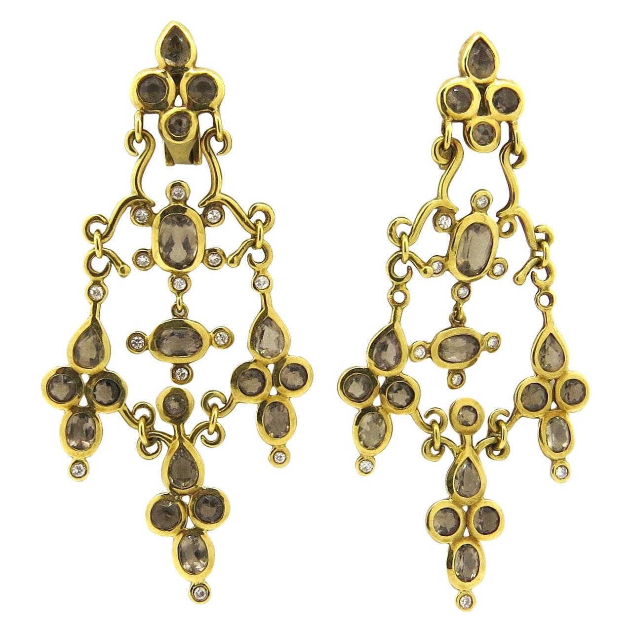 H. Stern Gold Diamond Smokey Quartz Chandelier Earrings For Sale ...