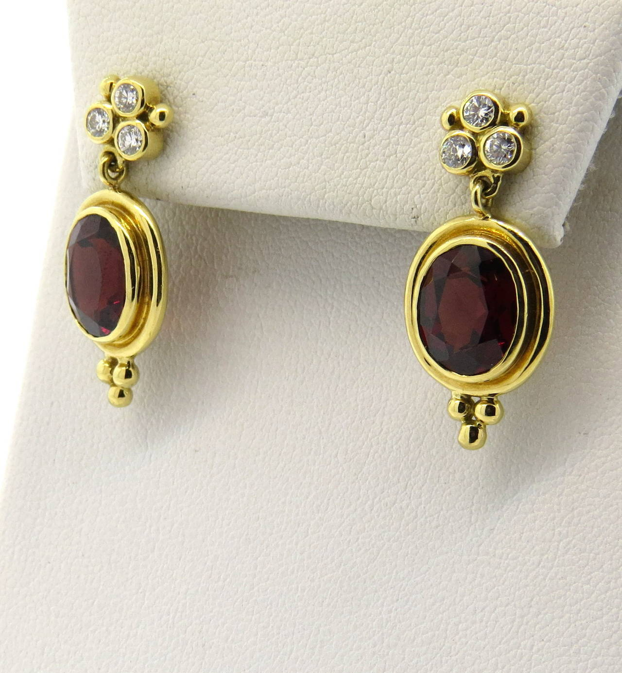 Temple St Clair Madeira Citrine Diamond Gold Earrings In Excellent Condition For Lahaska
