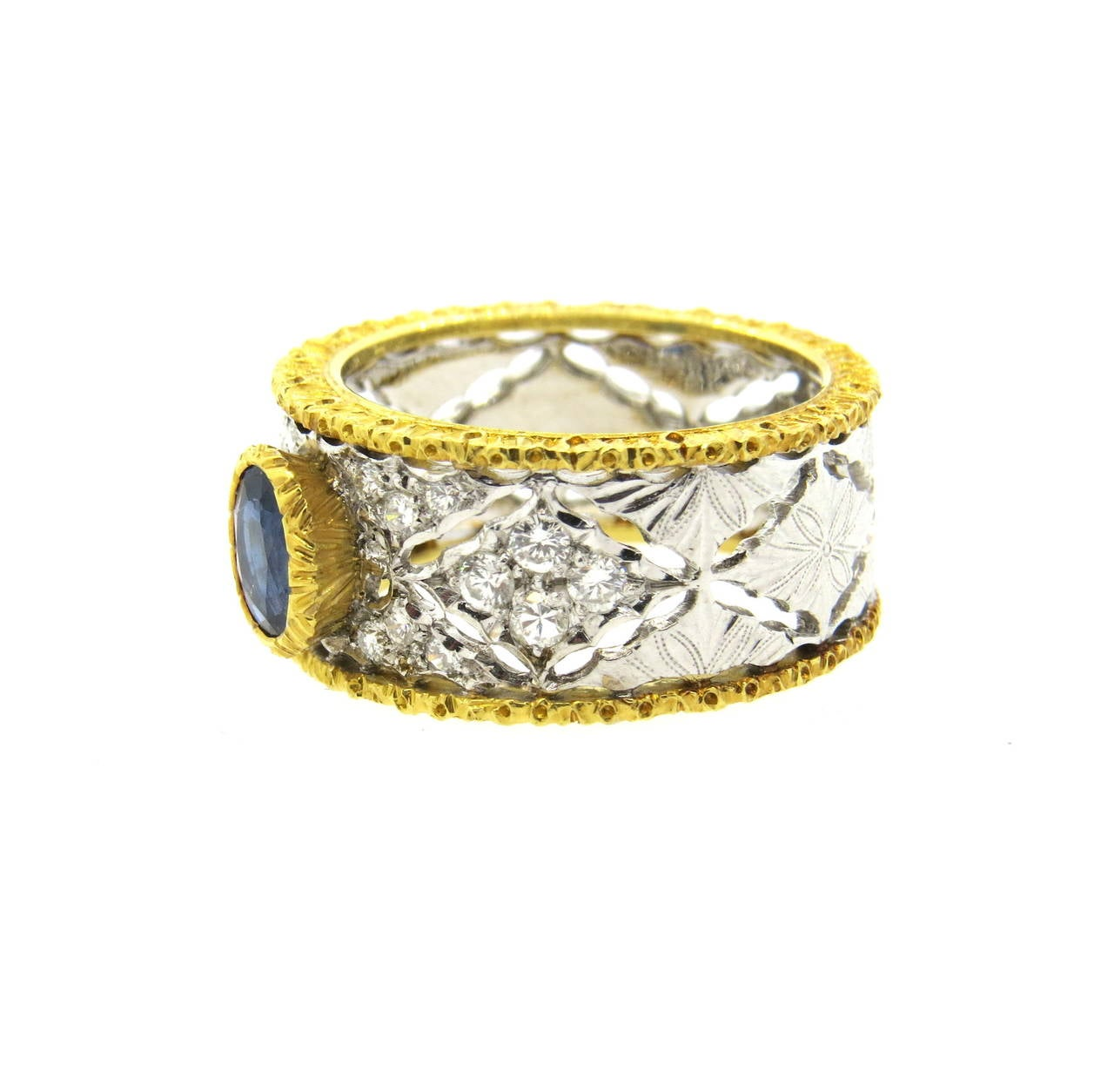 Mario Buccellati Sapphire Diamond Gold Ring 3