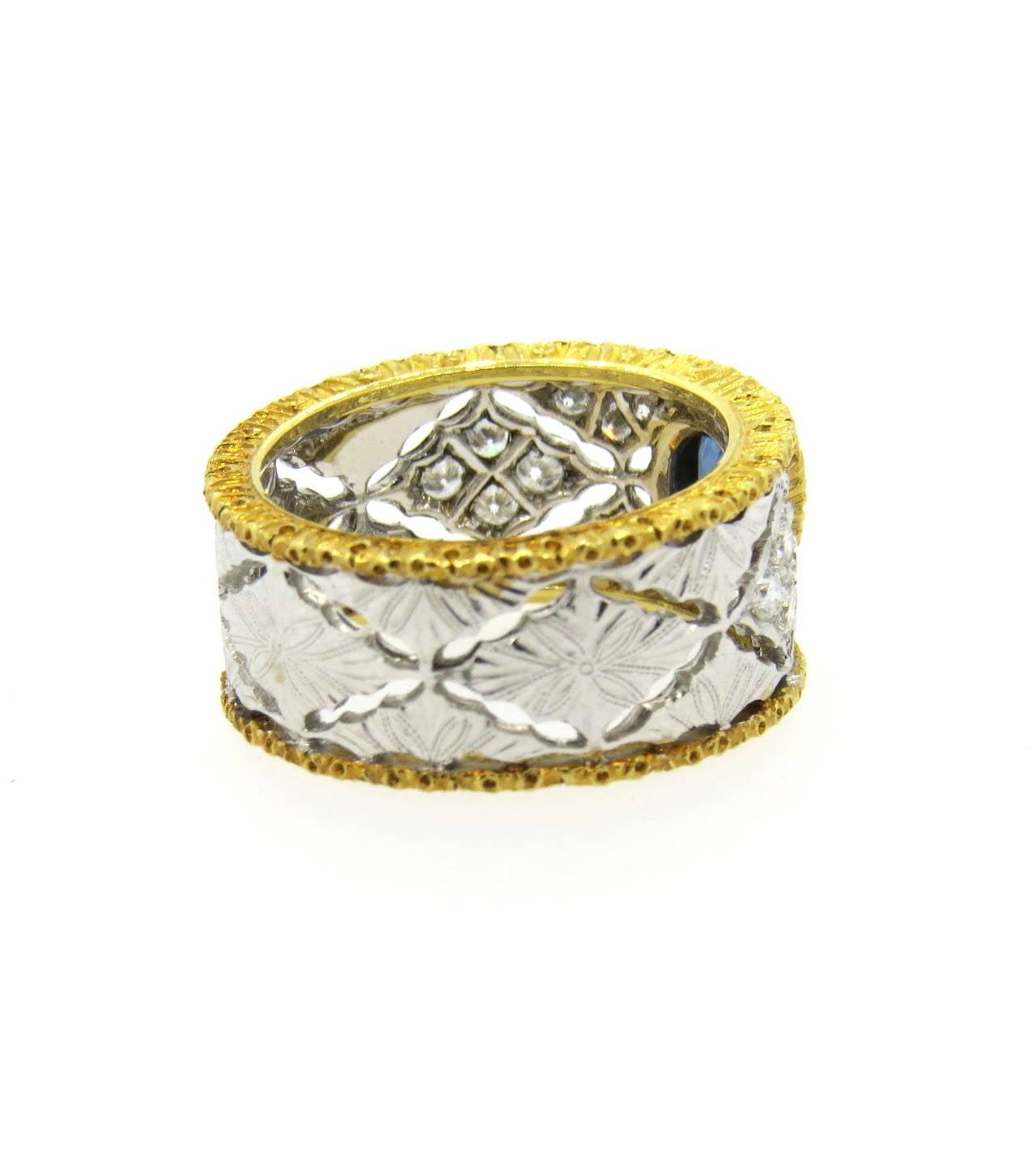 Mario Buccellati Sapphire Diamond Gold Ring 2